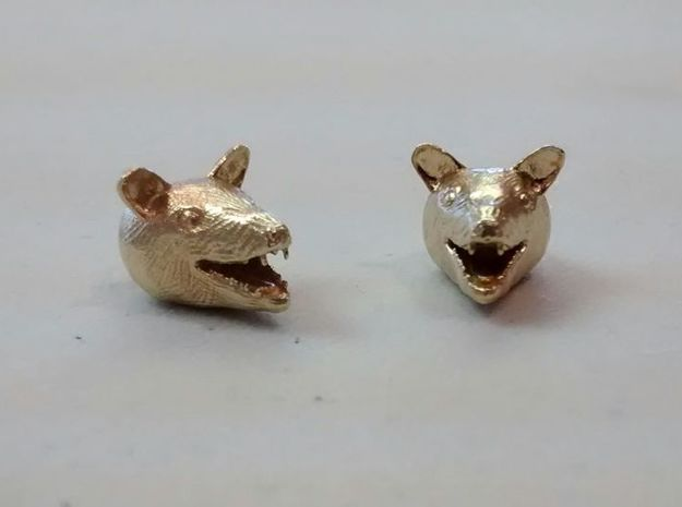 Happy Possum Pendant Earrings in Natural Brass