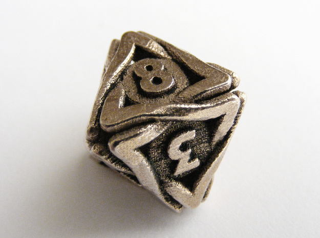'Twined' Dice D8 Gaming Die (16 mm) in Polished Bronzed Silver Steel
