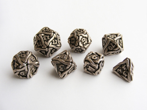 'Twined' Dice Gaming Die Set +10D10/Decader 7 dice in Polished Bronzed Silver Steel