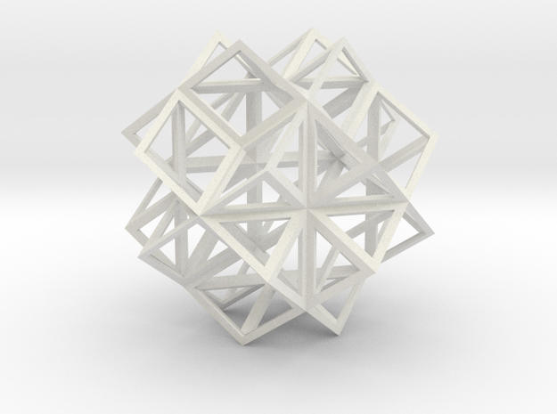 Rhombic Dodecahedron Stellation 2 in White Natural Versatile Plastic