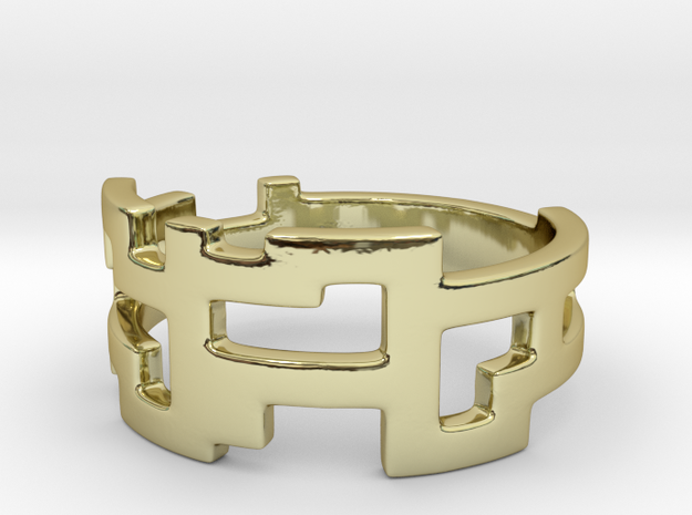 Ring Blocks - Size 9 in 18k Gold Plated Brass