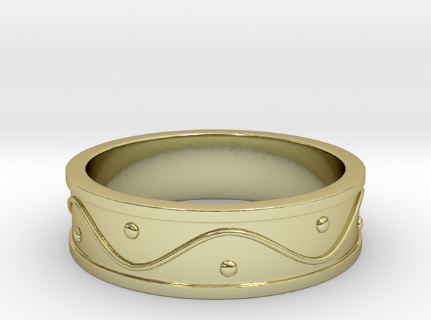 Ring Dots and Wave - Size 9 in 18k Gold Plated Brass