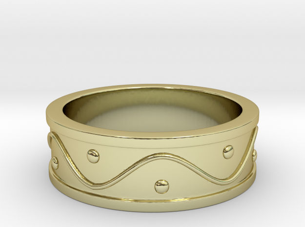 Ring Dots and Wave - Size 5 in 18k Gold Plated Brass