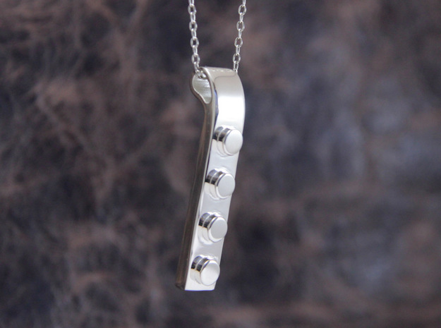 Brick Pendant in Polished Silver