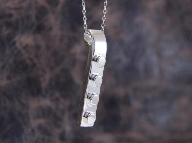 Brick Pendant (Precious Metal version) in Polished Silver