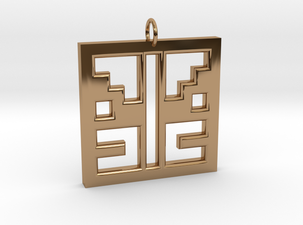 Square Angel Pendant in Polished Brass