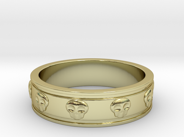 Ring with Skulls in 18k Gold Plated Brass