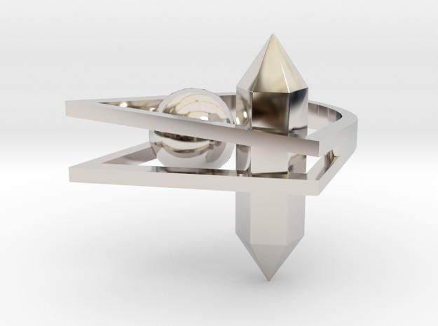 Crystal and Ball Ring 3d printed