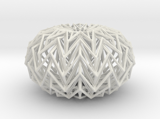 Decorative Ball based on a Twelve-pointed Star in White Natural Versatile Plastic