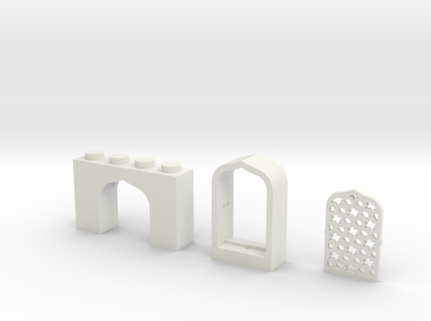 Set of Arabian Window Brick, Frame and Lattice in White Natural Versatile Plastic