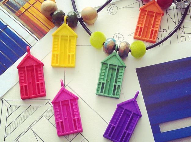 'Beach Hut' Strong and Flexible Plastic Pendant in Purple Processed Versatile Plastic