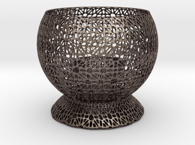 Fantasy Candle Holder in Polished Bronzed Silver Steel