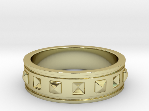 Ring with Studs - Size 5 in 18k Gold Plated Brass
