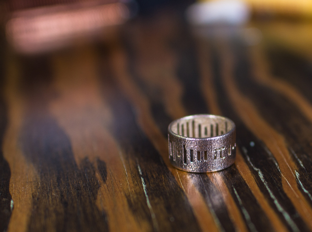 Pi Ring - Pi on your Finger Any Size! - Size 8 in Polished Bronzed Silver Steel