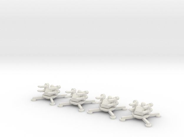 6mm Anti-Air Platforms (x4) in White Natural Versatile Plastic