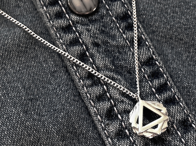 """GONS"" Geometric Pendant in Polished Silver"