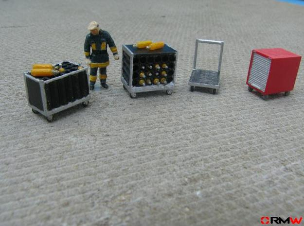 HO/1:87 Rollcontainer set 1a kit 3d printed Painted and assembled (figure not included)