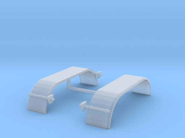 1/87th HO Truck Tandem Fenders Smooth Rounded in Smooth Fine Detail Plastic