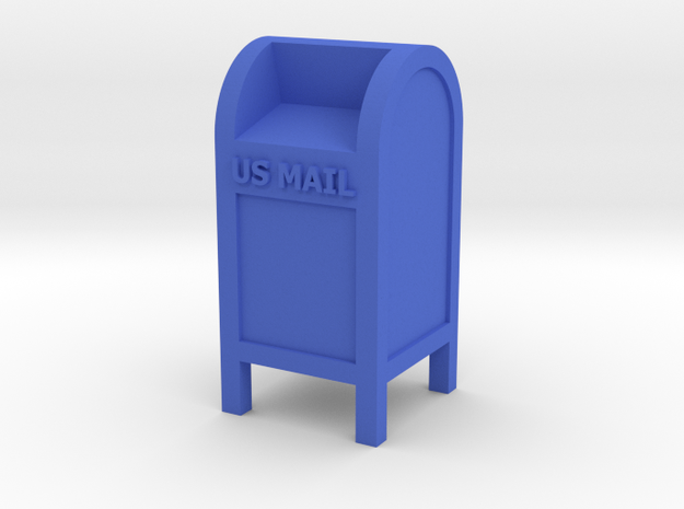 Mail Box - US Mail qty (1) HO 87:1 Scale in Blue Processed Versatile Plastic