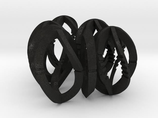 Modern Art Dice Set - 1/2 Scale D1-D7 in Black Acrylic