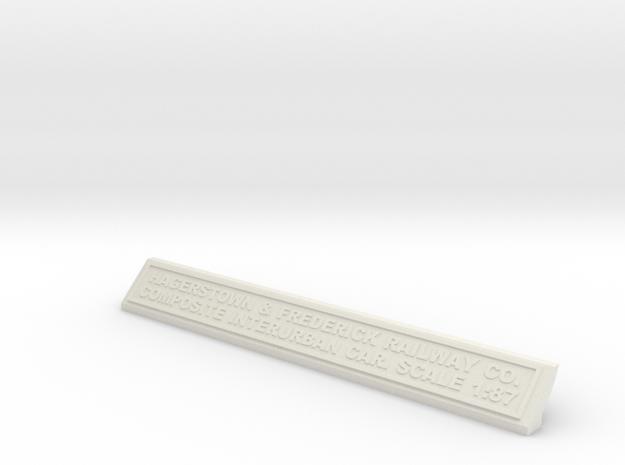 Base Nameplate HO H&F in White Natural Versatile Plastic