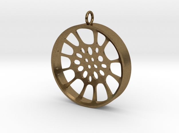 "High Tenor ""void"" steelpan pendant, Large (44mm) in Natural Bronze"