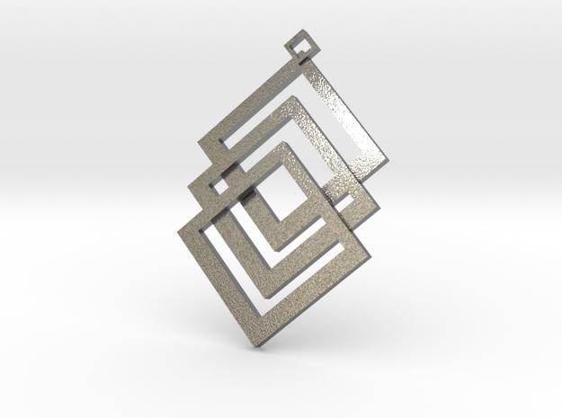 Cuboid prendant in Natural Silver