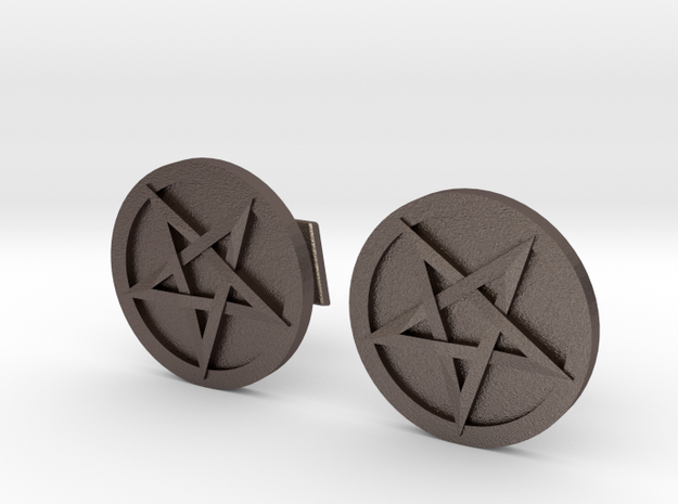 Inverted Pentacle Cufflinks in Polished Bronzed Silver Steel