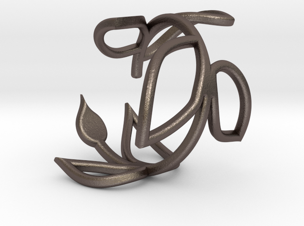 Vine Ring size 7.5 in Polished Bronzed Silver Steel