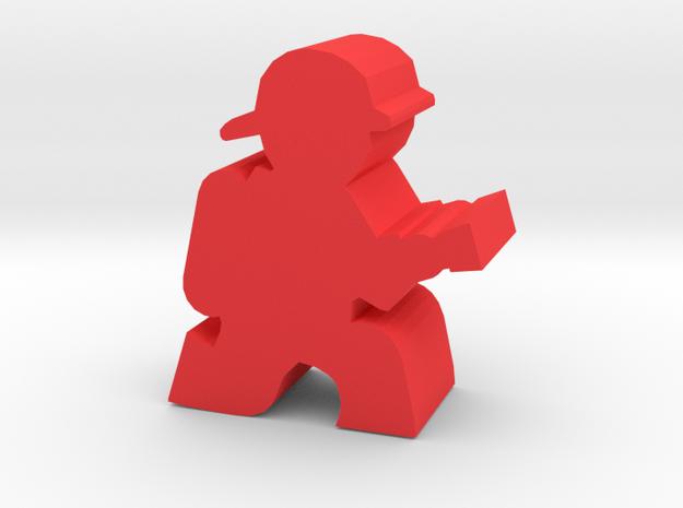 Firefighter Meeple, Kneeling With Hose in Red Processed Versatile Plastic