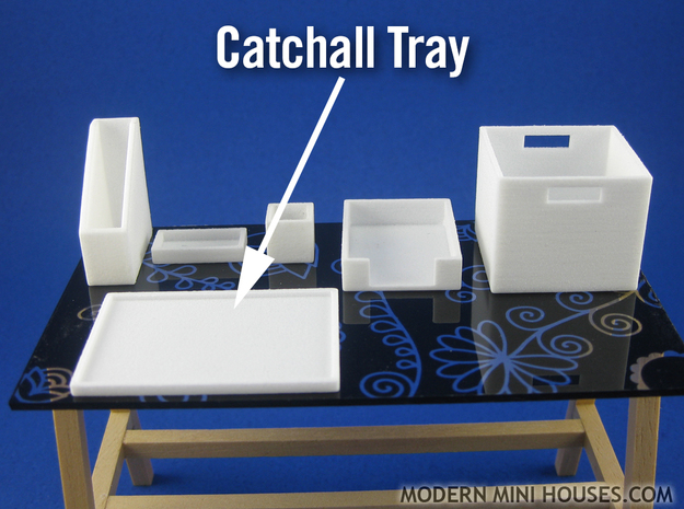 Office: Catchall Tray 1:12 scale in White Processed Versatile Plastic