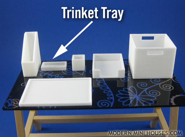 Office: Trinket Tray 1:12 scale in White Strong & Flexible Polished
