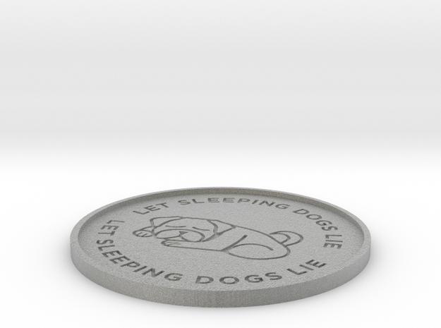 Let Sleeping Dogs Lie Beverage Coaster in Metallic Plastic