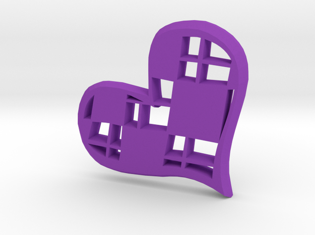 Checkered Heart - Pendant in Purple Strong & Flexible Polished
