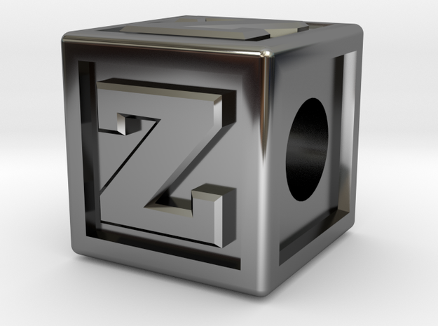 "Name Pieces; Letter ""Z"" in Fine Detail Polished Silver"