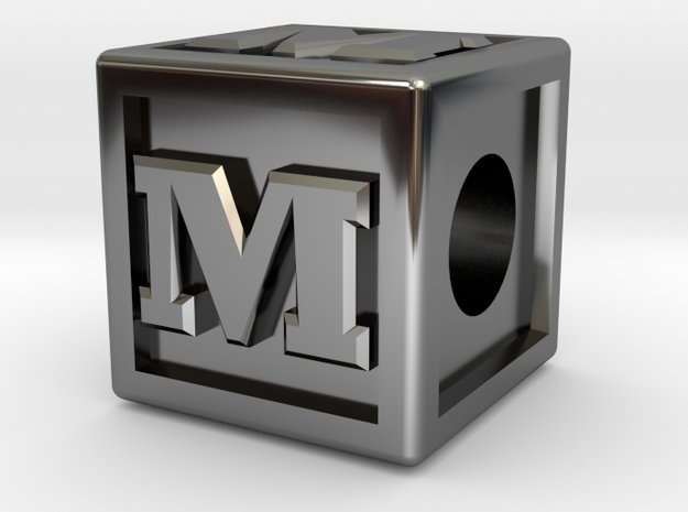 "Name Pieces; Letter ""M"" in Fine Detail Polished Silver"