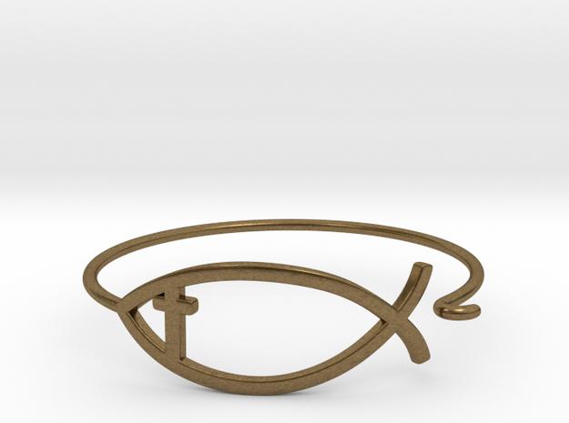 Wire Jesus Fish Bracelet (w/ Cross) in Natural Bronze