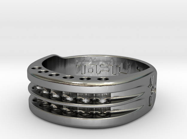 US17 Ring XI: Tritium, Six Holes in Polished Silver