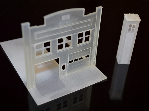 N-Scale Urban Fire Station Facade w/ Driveway 3d printed Production model DOES NOT include interior floor.