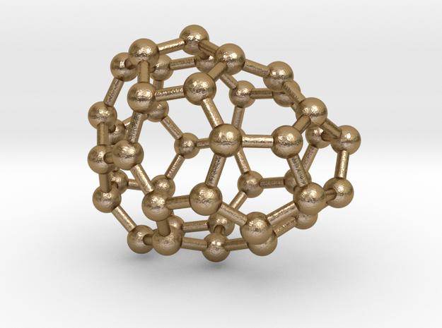 0110 Fullerene C40-4 c1 in Polished Gold Steel