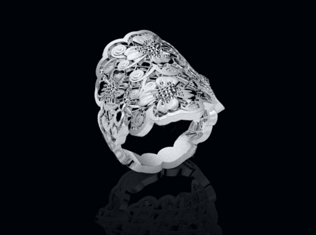 Blossom Ring in Fine Detail Polished Silver
