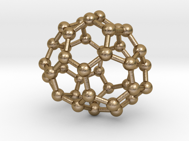 0129 Fullerene C40-23 c2 in Polished Gold Steel