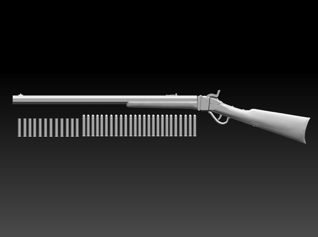 Sharps rifle w bullets 10.6cm in Smooth Fine Detail Plastic