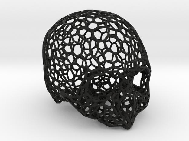 Voronoi Female Skull [real size] in Black Natural Versatile Plastic