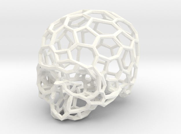 Voronoi Skull [1:0.5] in White Strong & Flexible Polished
