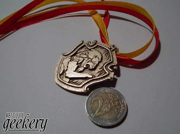 Gryffindor House Crest - Pendant SMALL in Polished Bronzed Silver Steel