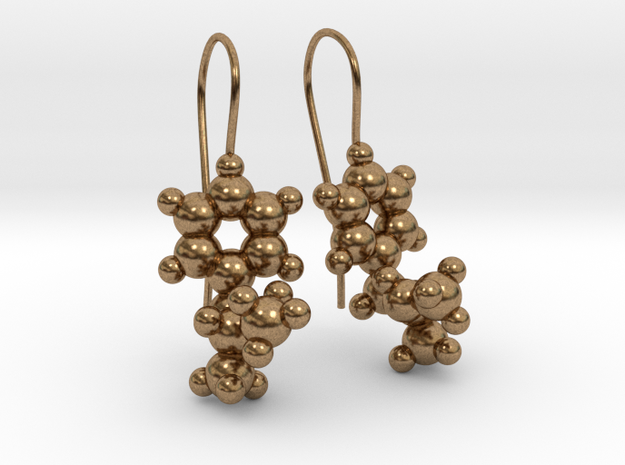 Methamphetamine Fishhook Earring Pair in Raw Brass