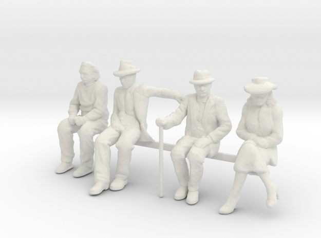 1:48 scale SEATED FIGURE PACK in White Natural Versatile Plastic