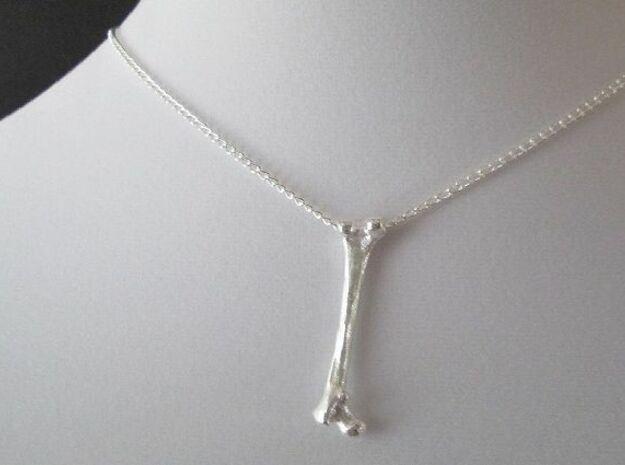 Femur Bone Pendant in Raw Silver