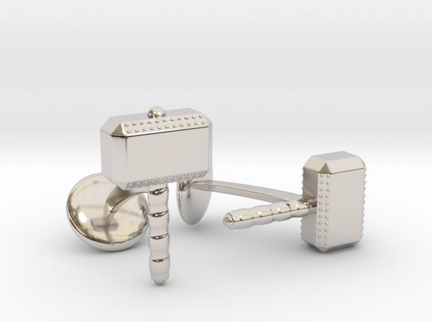 Thor Hammer Cufflinks in Rhodium Plated Brass